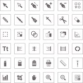 Collection of interface icons for graphics and illustration software.