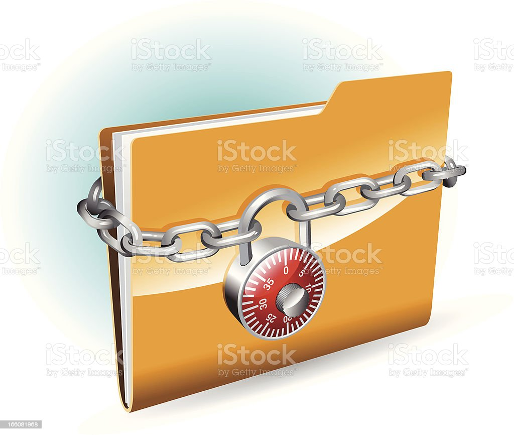 Graphics of a documents in a folder with a chain and lock vector art illustration