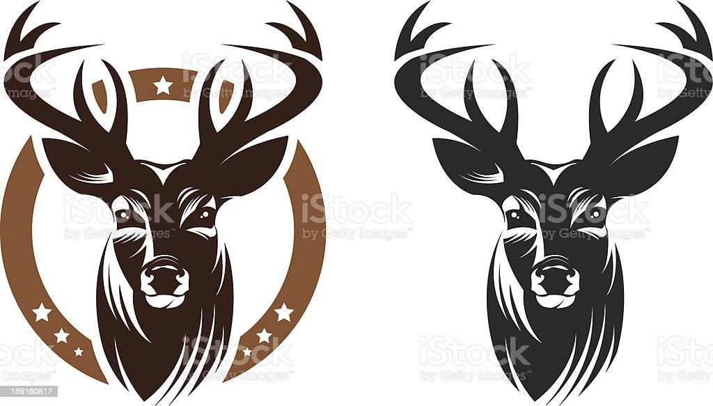 2 graphics of a stags head, one with a brown circle vector art illustration
