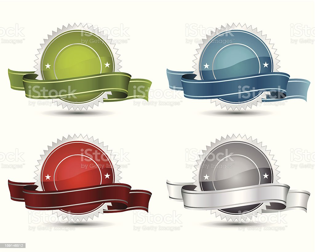 Graphics of award templates in different colors on white royalty-free stock vector art