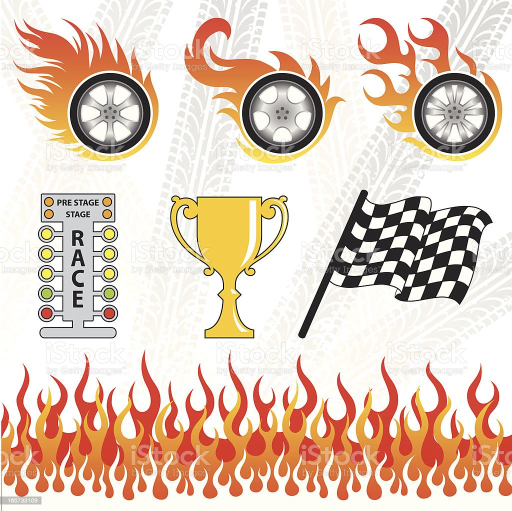 Graphics of Motorsport elements vector art illustration