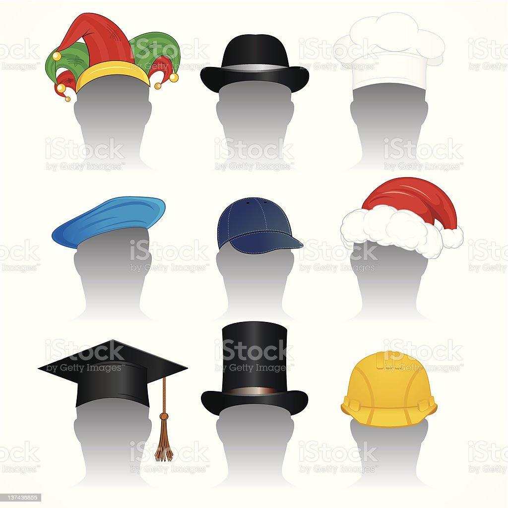Graphics of nine different hats royalty-free stock vector art