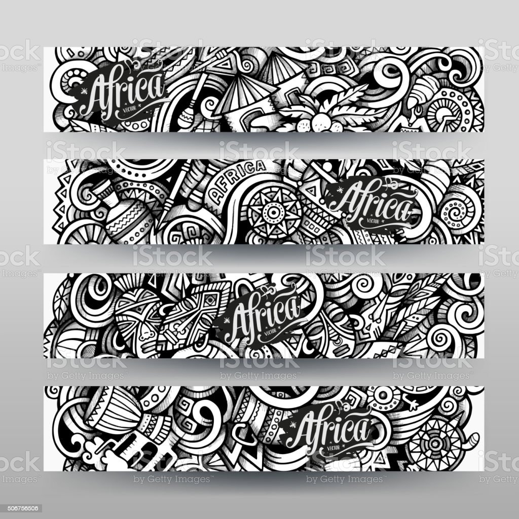 Graphics vector hand drawn sketchy trace Africa Doodle banner vector art illustration