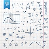 Set of different hand-drawn doodle scientific design element with transparency in EPS'10.