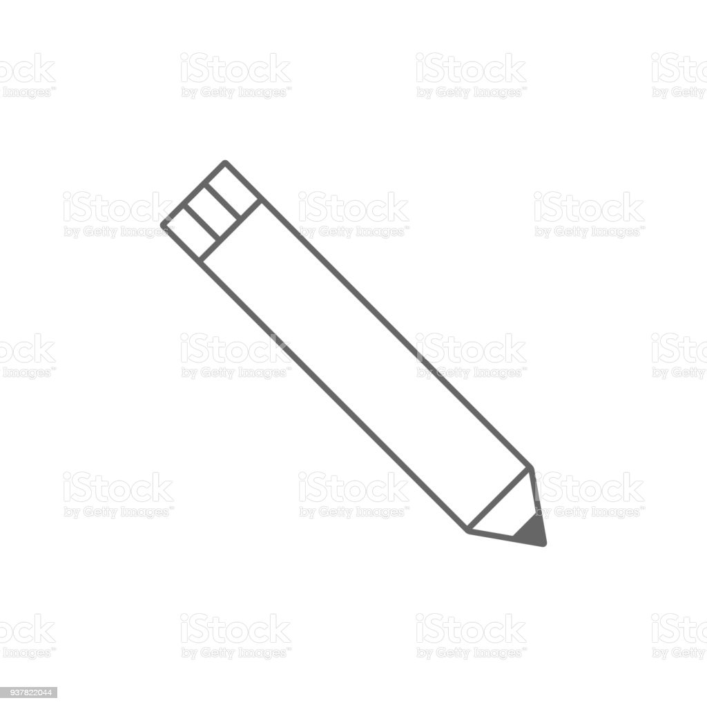 Graphite pencil with cap. Outline. Vector icon vector art illustration