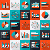 A set of chart and graph icons. File is built in the CMYK color space for optimal printing. Color swatches are global so it's easy to edit and change the colors.