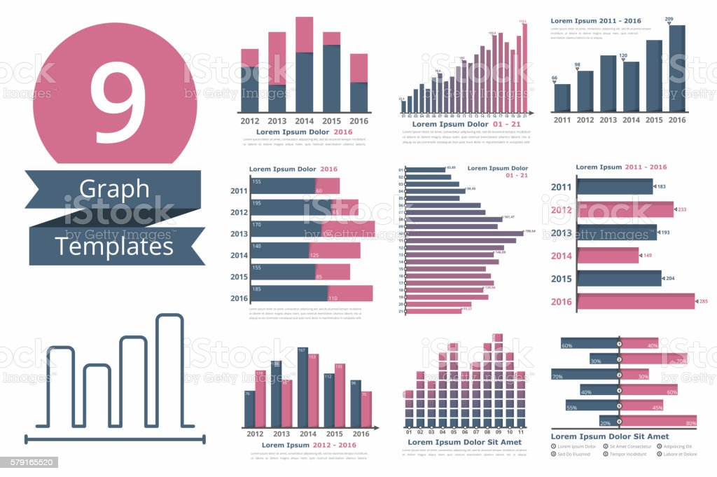 Graphs and Charts Templates vector art illustration