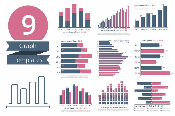 Graphs and Charts Templates Graphs and charts templates for statistics or data visualization, set of 9 infographic templates for reports and presentations, vector eps10 illustration bar graph stock illustrations