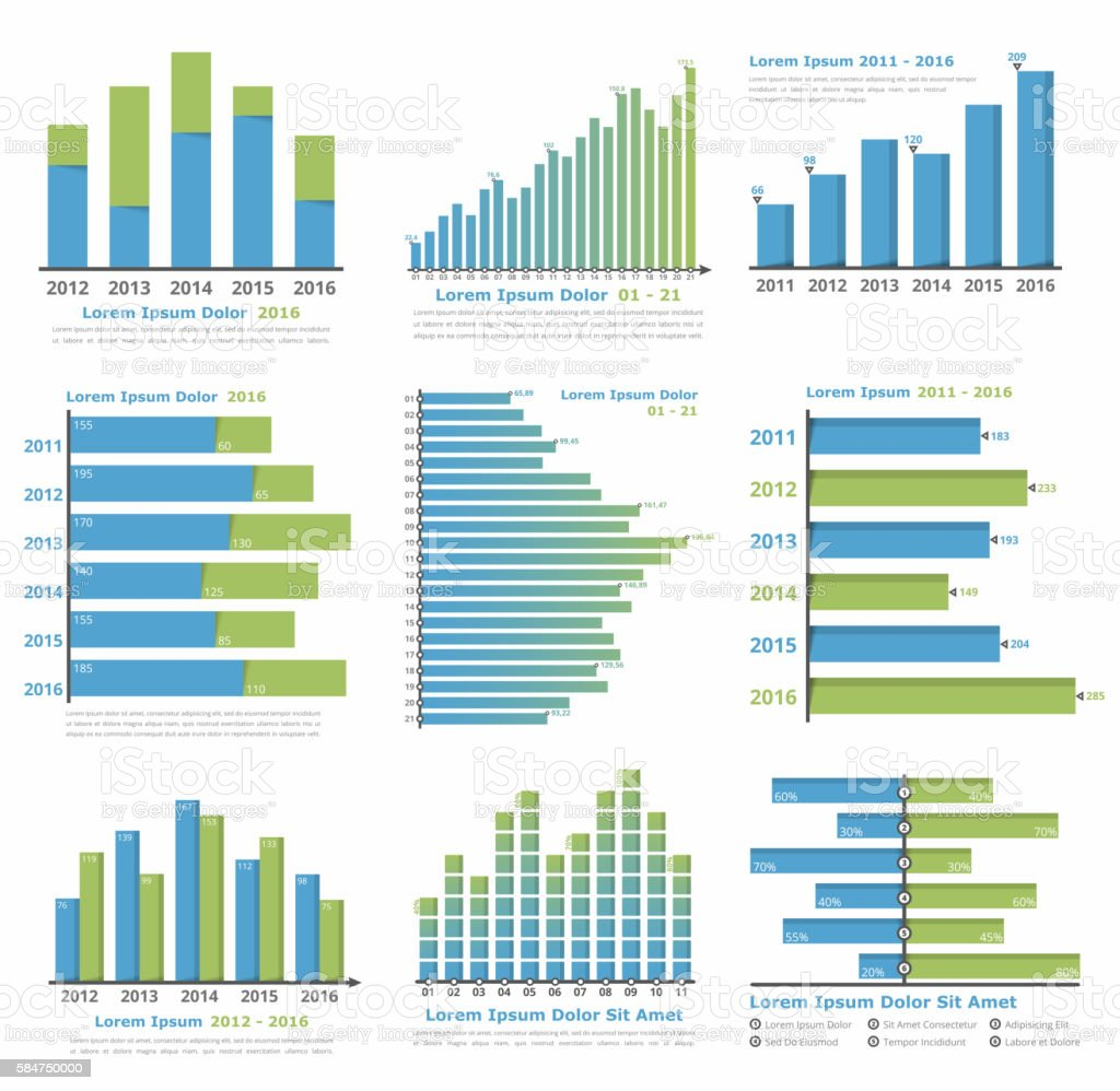 Graphs and Charts vector art illustration