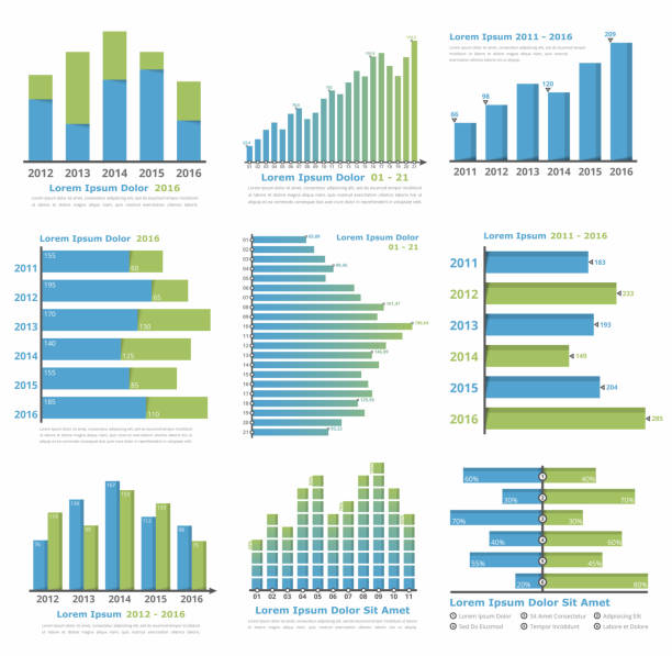 Graphs and Charts Graphs and charts templates for statistics or data visualization, set of 9 infographic templates for reports and presentations, vector eps10 illustration bar graph stock illustrations