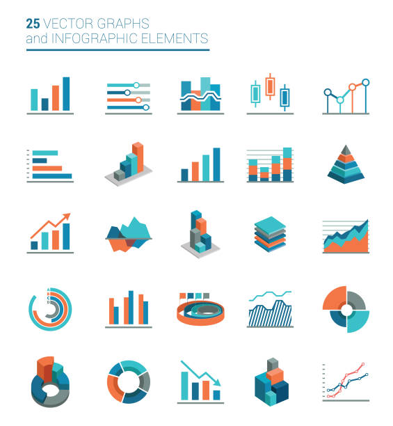Graphs, Charts and Infographics elements vector art illustration