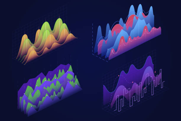 Graphs, charts isometric vector illustrations set vector art illustration