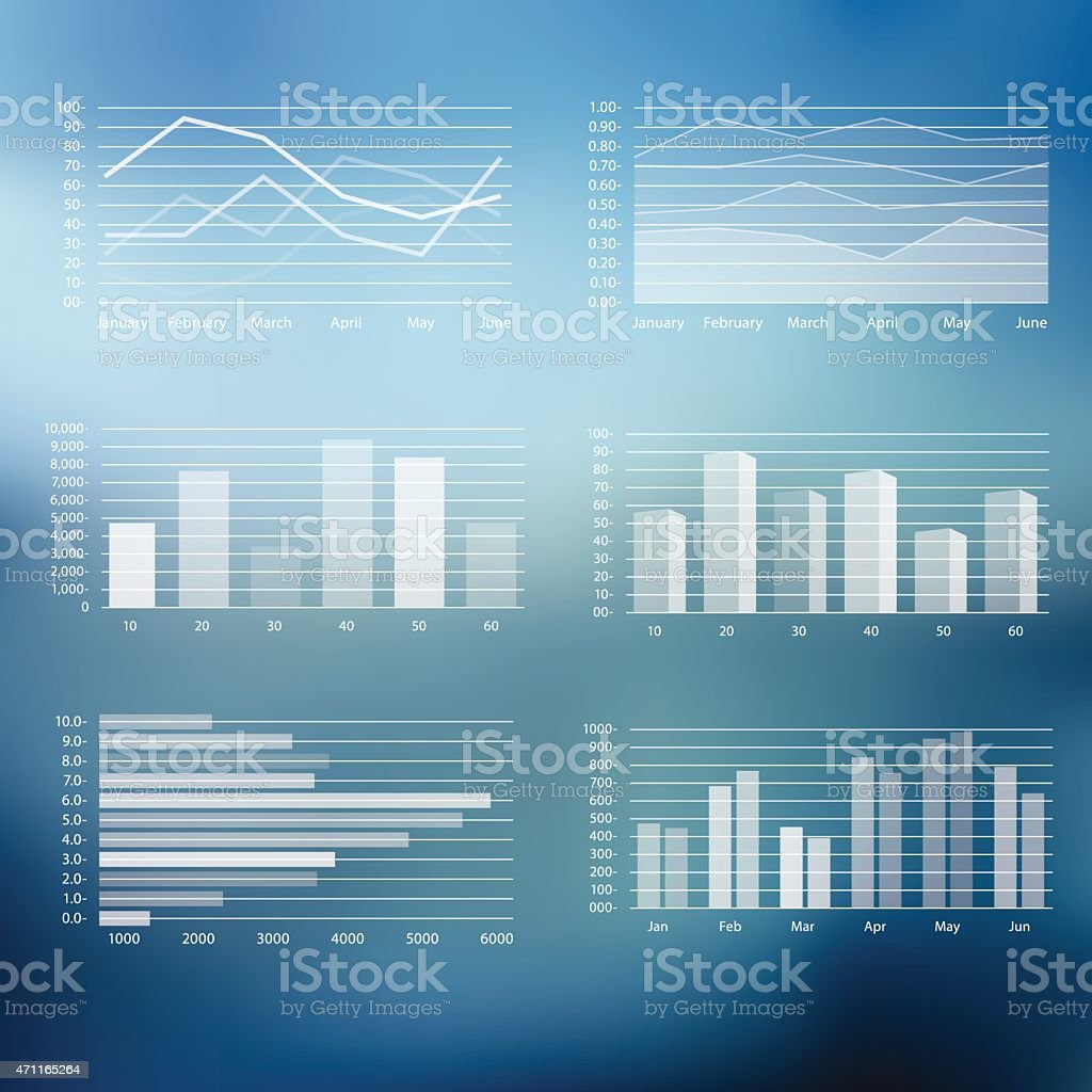 Graphs Icon Set on Blurry Background vector art illustration