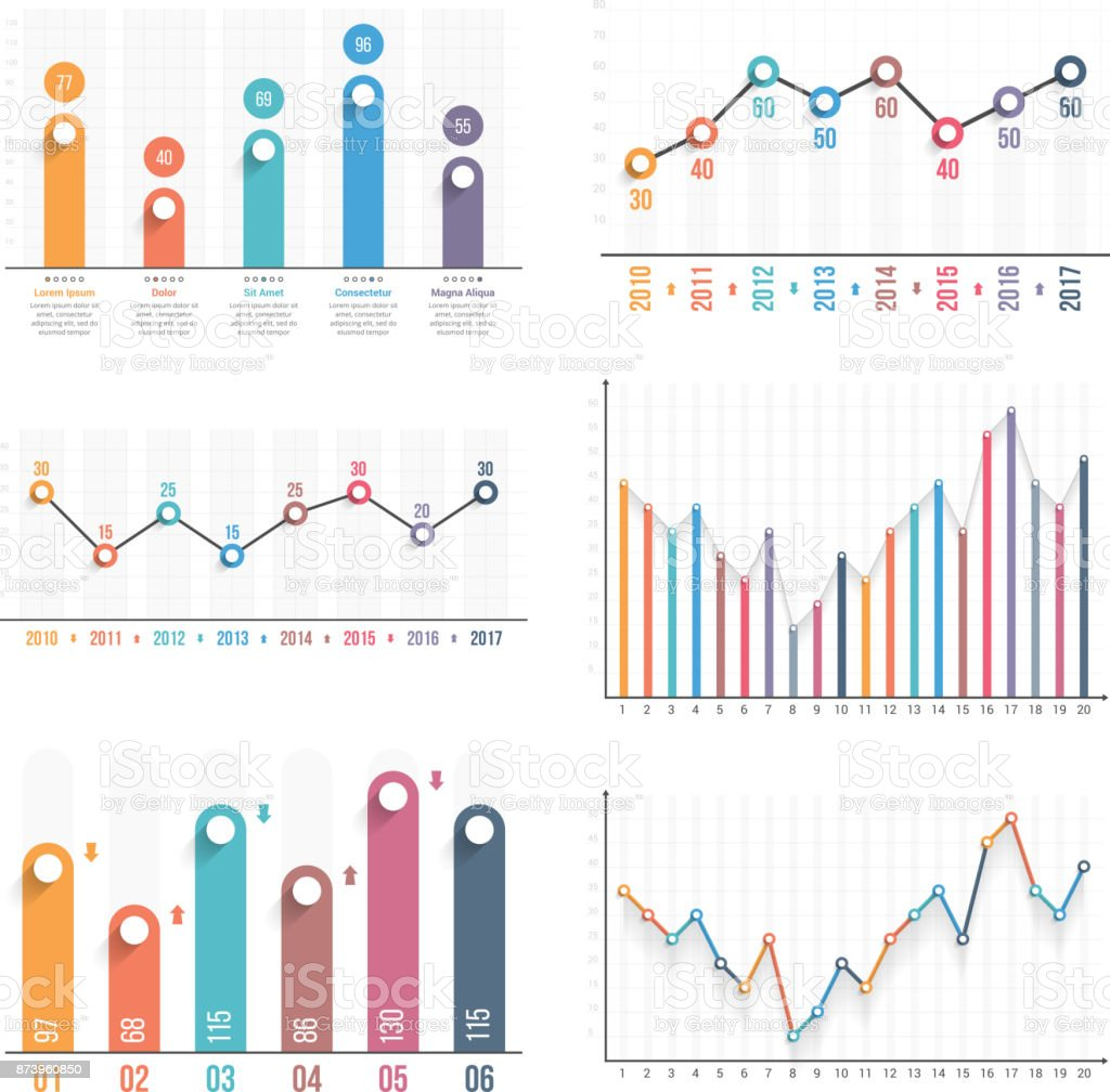 Graphs vector art illustration