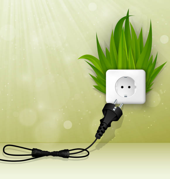 grass and a socket - electrical wiring home stock illustrations, clip art, cartoons, & icons