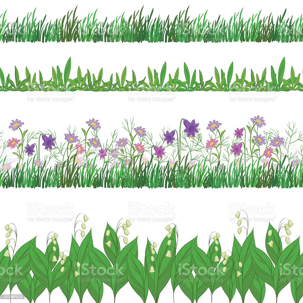 Grass and flowers, set seamless royalty-free stock vector art
