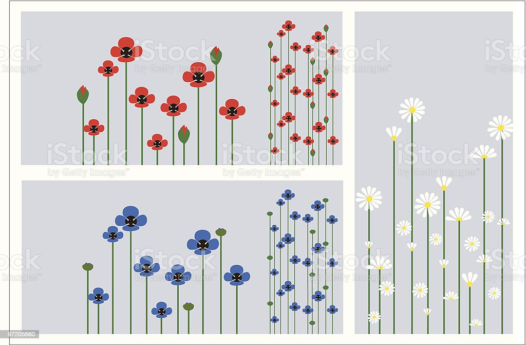 Grass and flowers silhouette, summer background royalty-free stock vector art