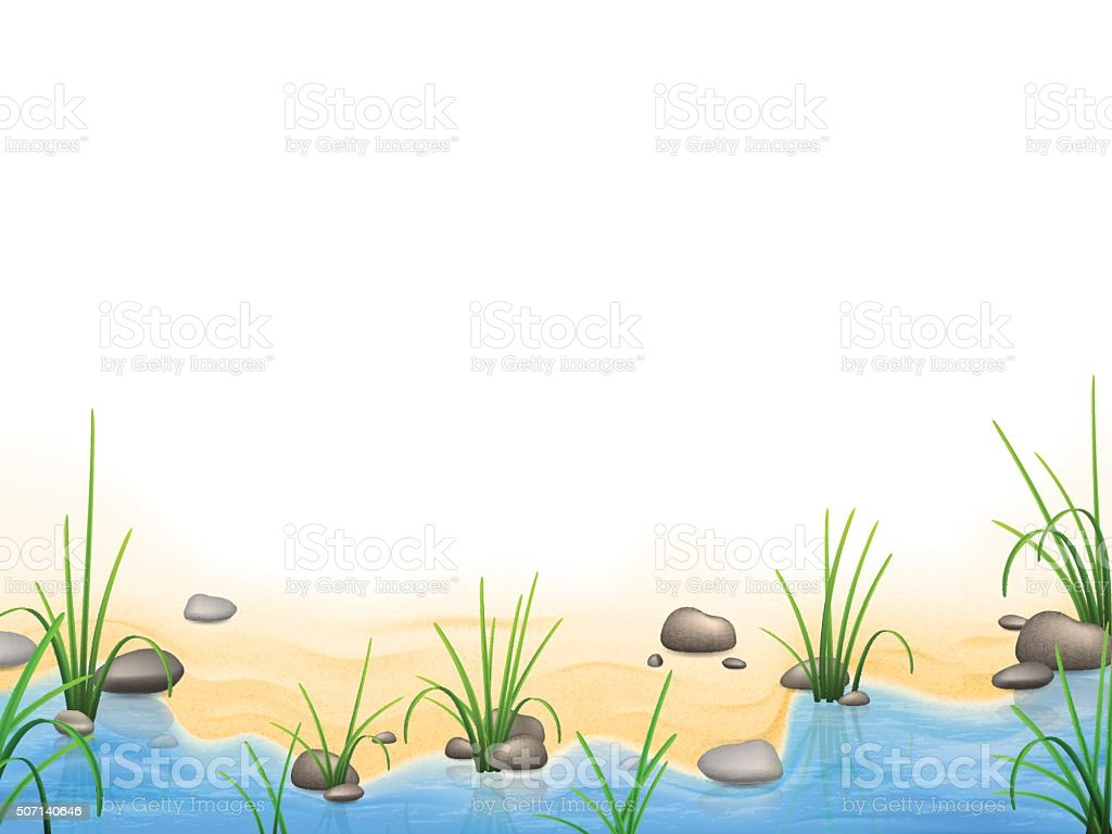Grass and pebbles on a river bank vector art illustration