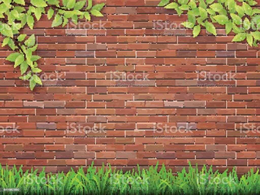grass and tree branches on red brick wall vector art illustration
