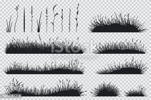 Grass black silhouette vector set.