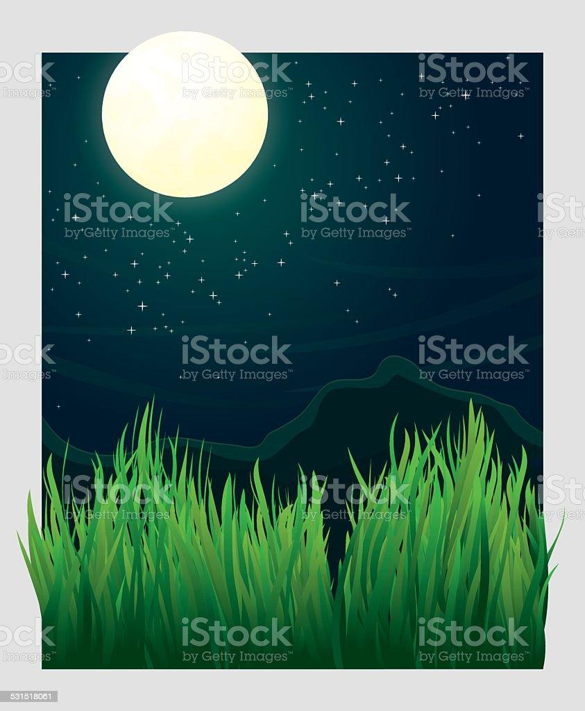 Grass blades and night moon vector illustration vector art illustration
