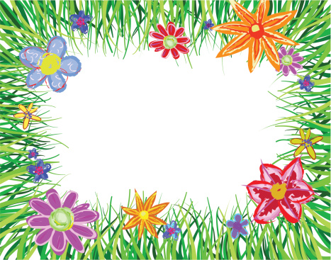 grass border with flowers