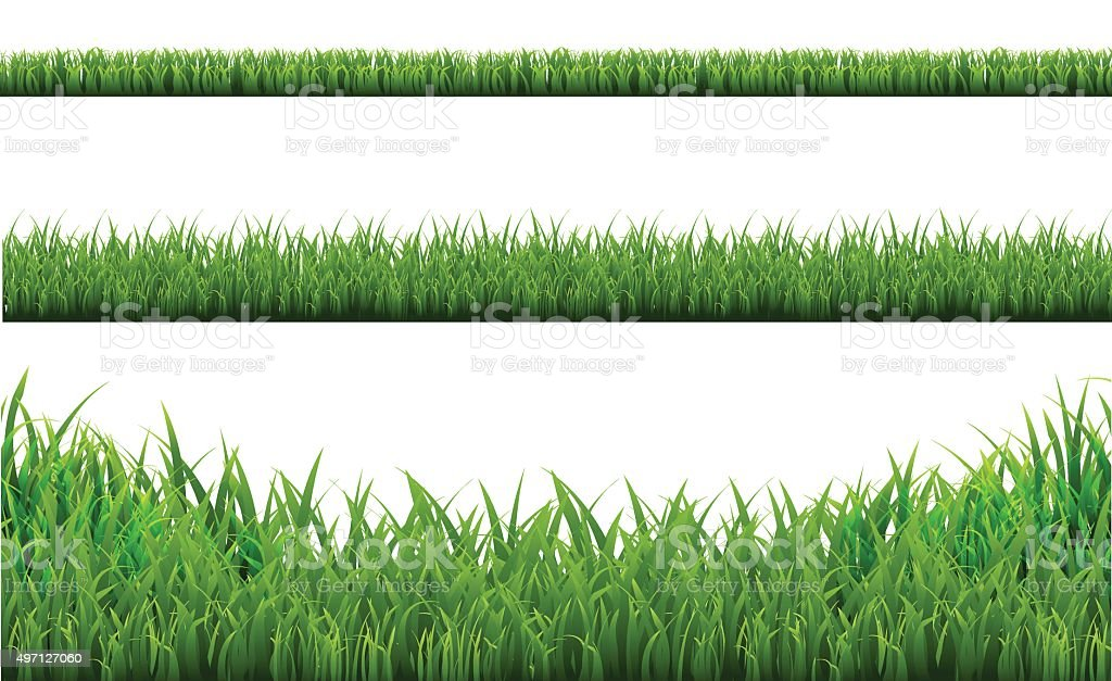 Grass Borders Set vector art illustration