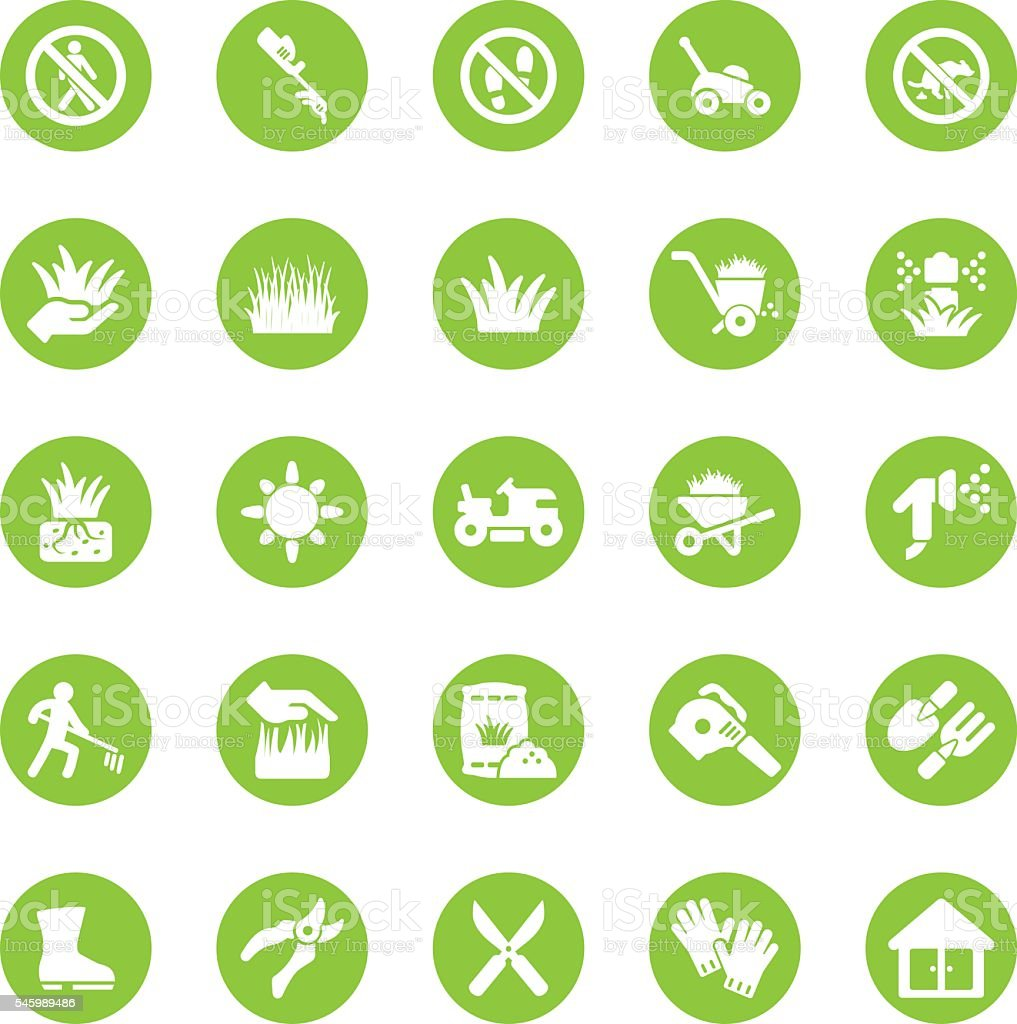 Grass Circle Green icons | EPS10 vector art illustration