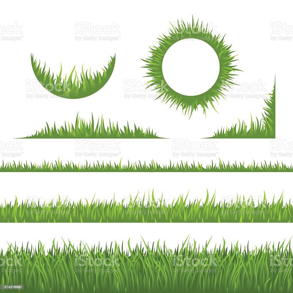 Grass design elements vector art illustration