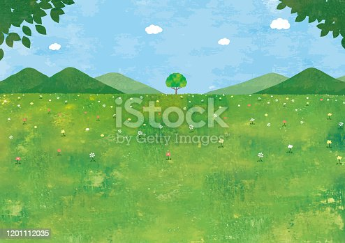 istock grass field and big tree 1201112035