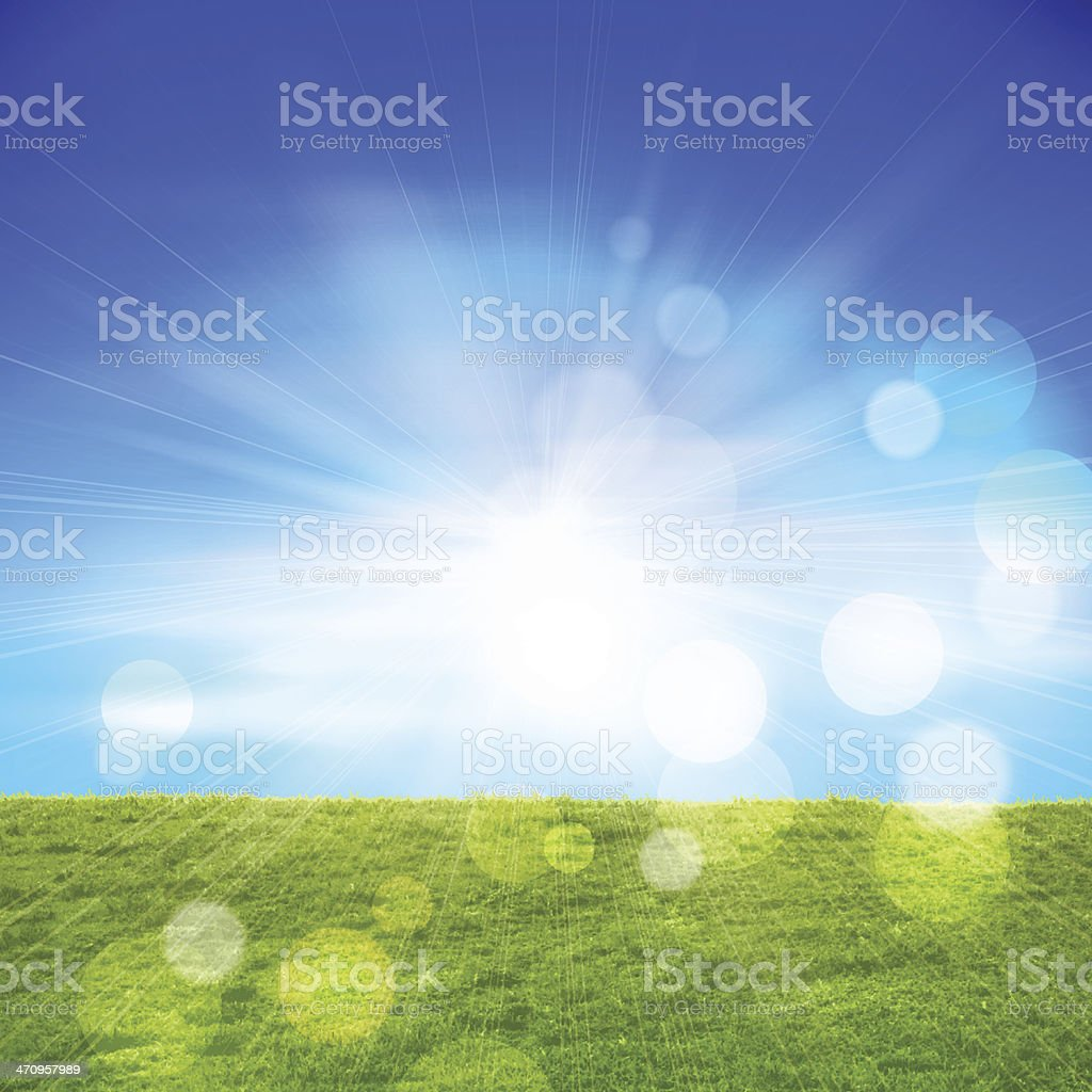 Grass Field and Sky Background vector art illustration