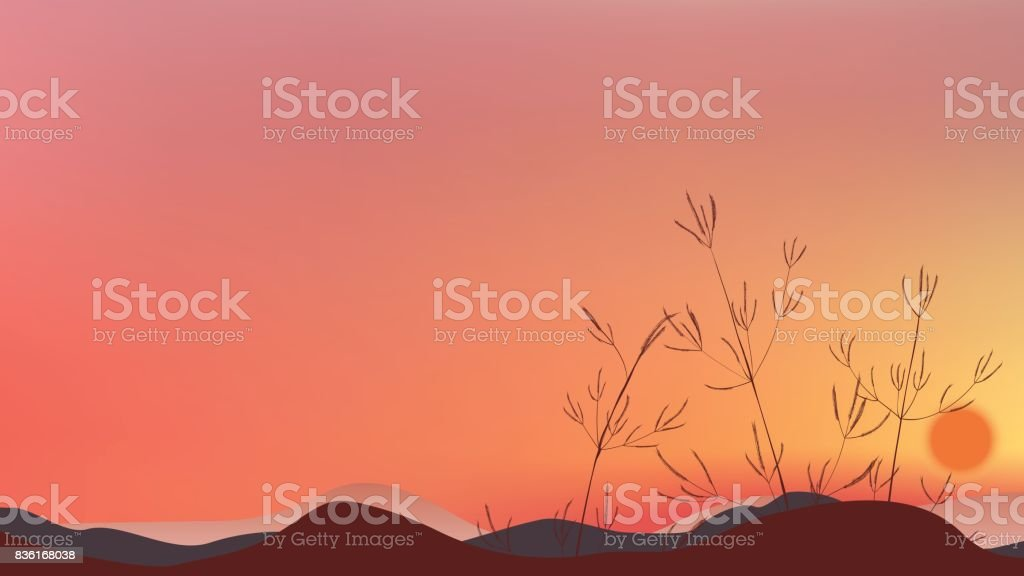 Grass field silhouette with twilight sky and sunset landscape vector art illustration