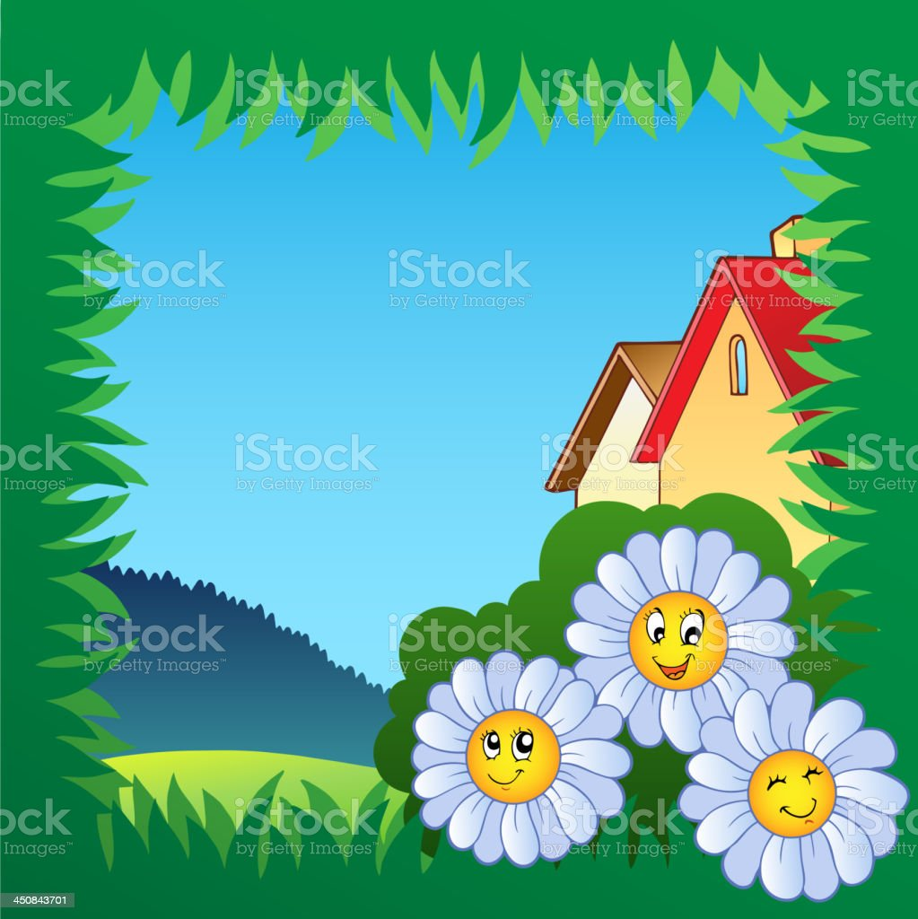 Grass frame with flowers 1 royalty-free stock vector art