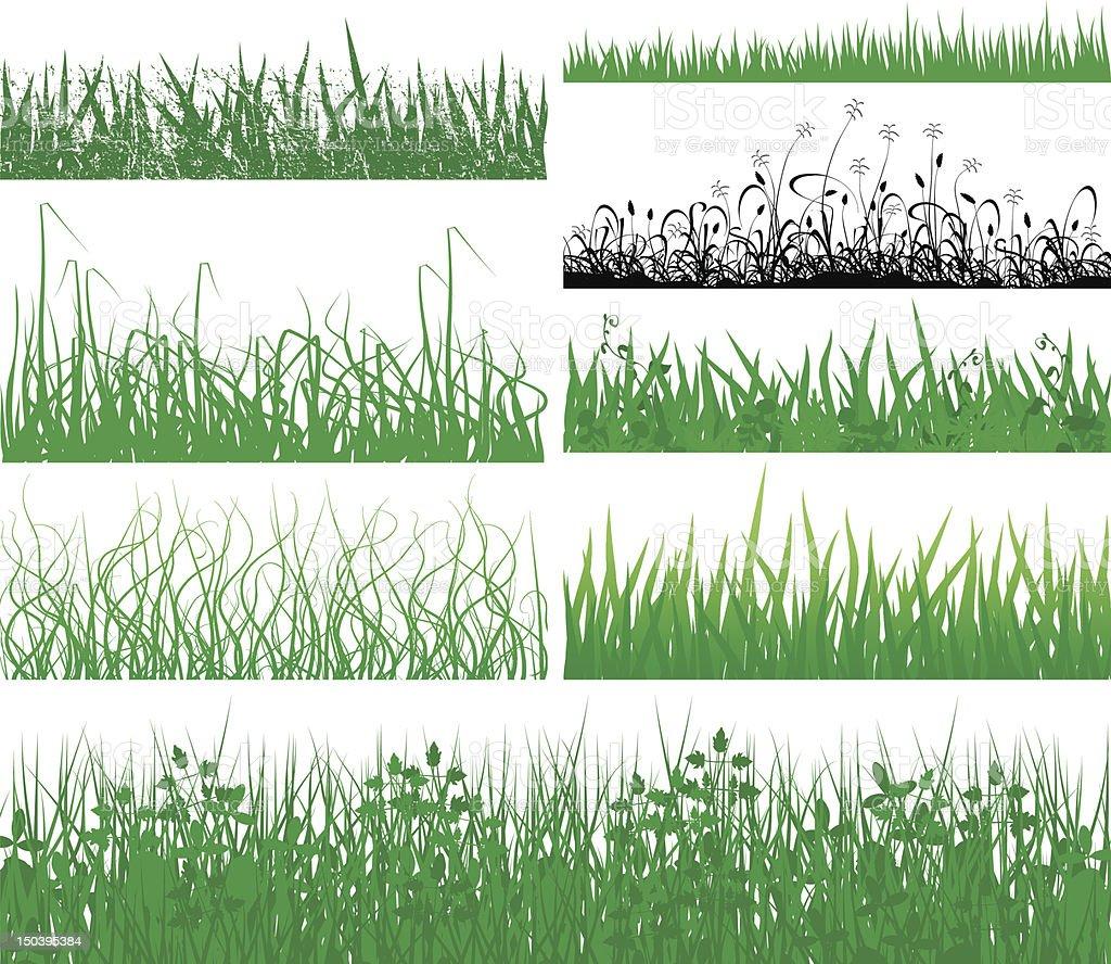 Grass fringes vector art illustration
