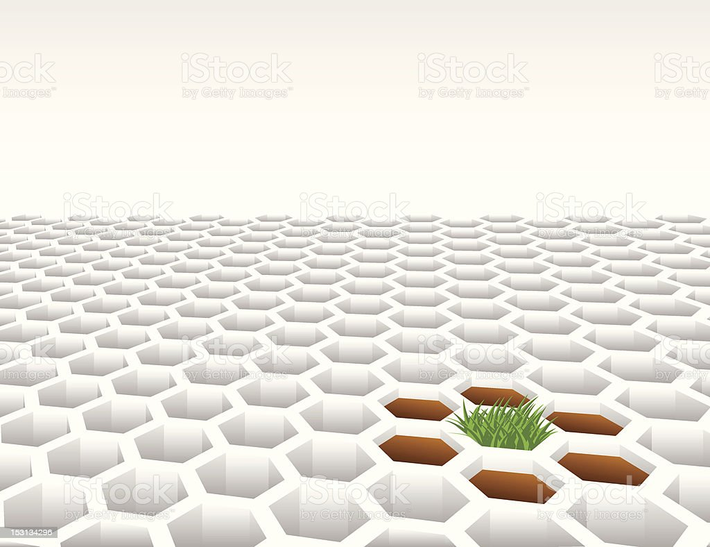 Grass growing from 3D hexagon shape mesh background royalty-free grass growing from 3d hexagon shape mesh background stock vector art & more images of abstract