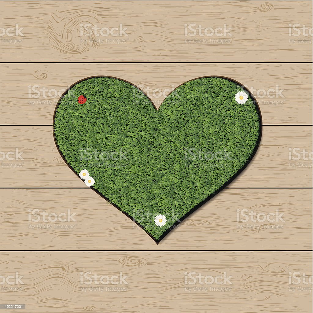 Grass heart symbol vector art illustration