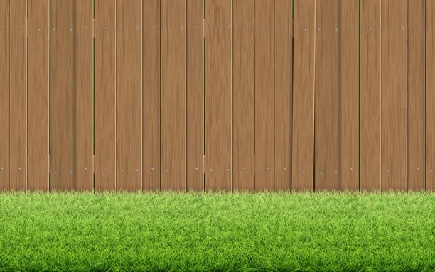ilustraciones, imágenes clip art, dibujos animados e iconos de stock de césped de hierba y valla de madera marrón. - grass