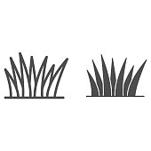istock Grass line and solid icon, nature concept, lawn sign on white background, Grass leaves icon in outline style for mobile concept and web design. Vector graphics. 1256224907