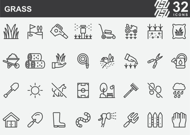 Grass Line Icons Grass Line Icons annelid stock illustrations