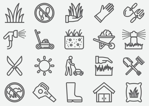 Grass Line Icons Grass Line Icons gardening stock illustrations