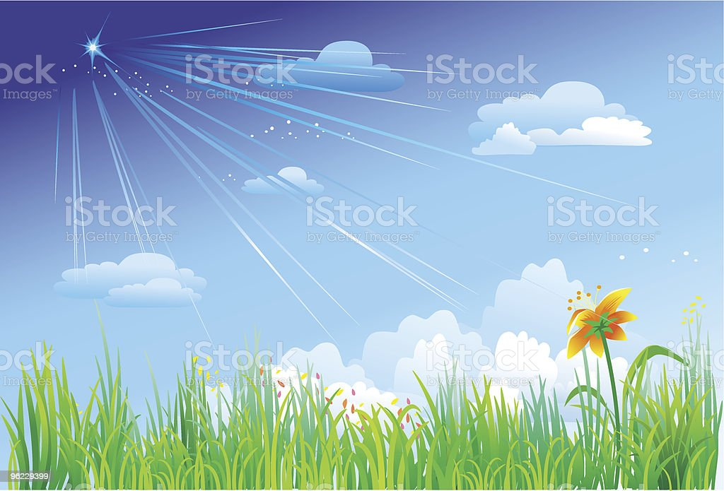Grass on a background of blue sky royalty-free stock vector art