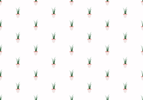 Grass, plant on a pot seamless pattern. Cute botanical texture. For your design, fabric, wrapper repeat, graphic design, textile tileable background or backdrop concept. Digital craft. Vector.