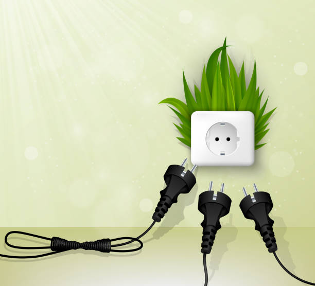 grass plug - electrical wiring home stock illustrations, clip art, cartoons, & icons