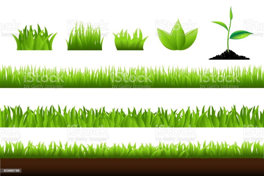 Grass Set vector art illustration