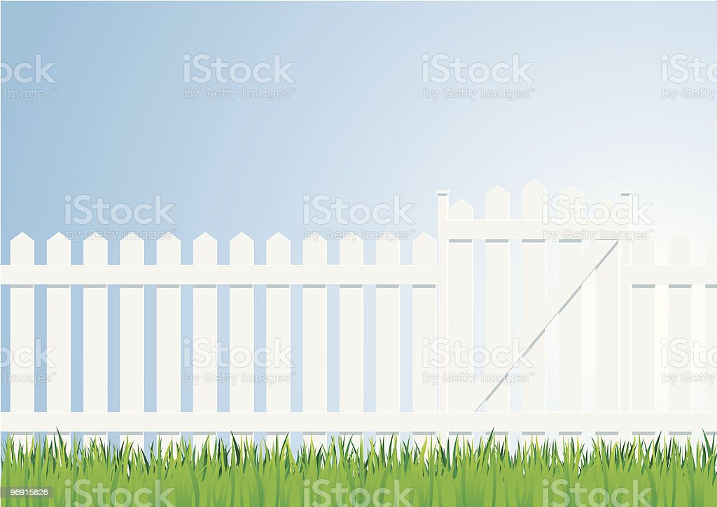 grass sky and palisade royalty-free stock vector art