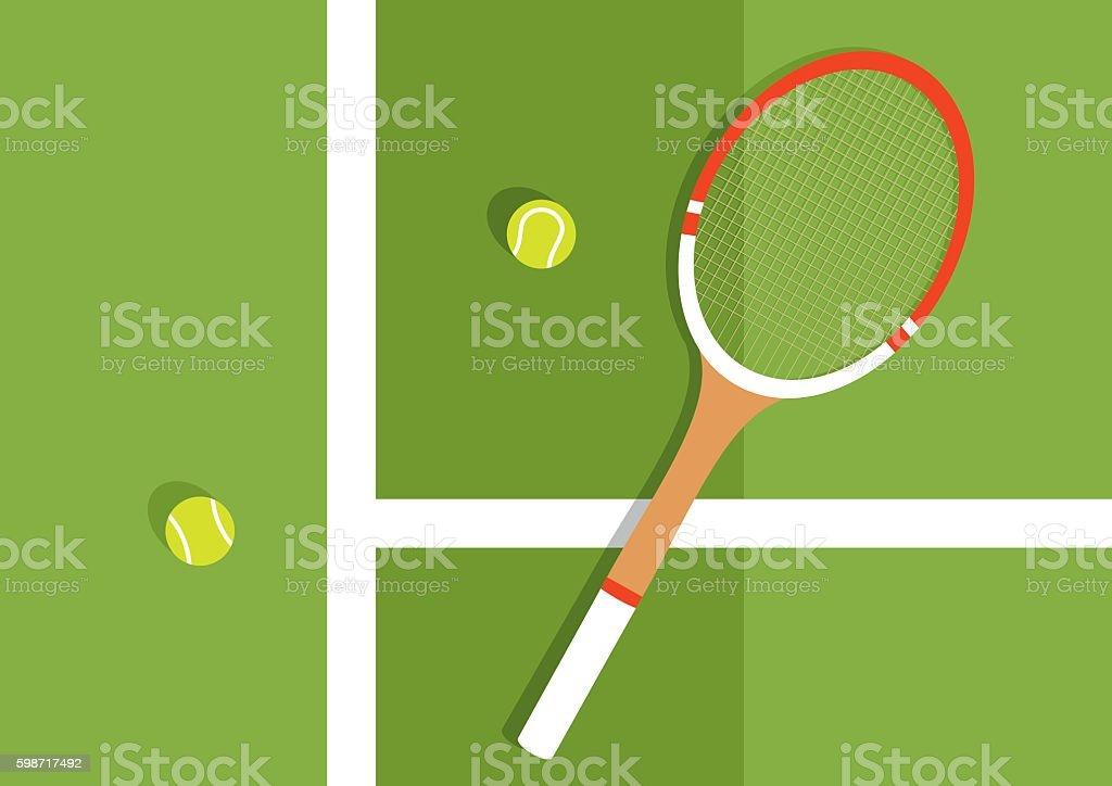 Grass tennis court vector art illustration