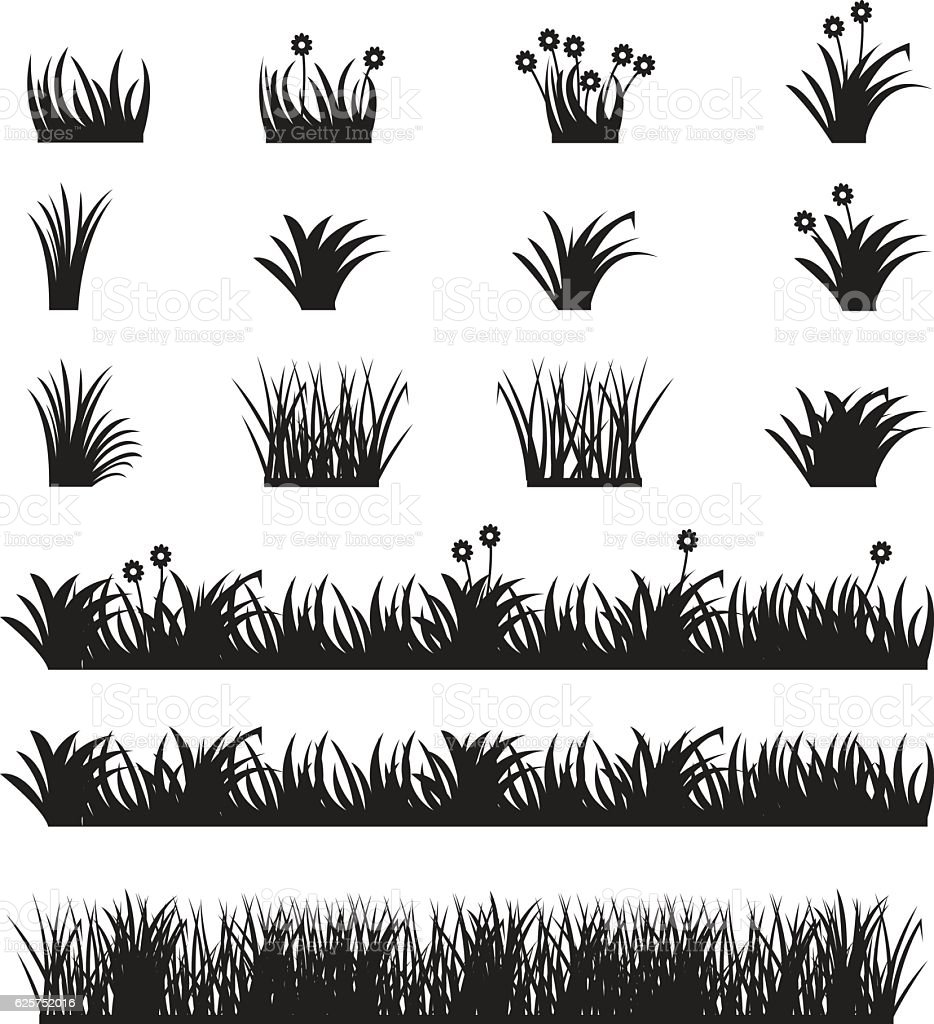 Grass vector set. vector art illustration