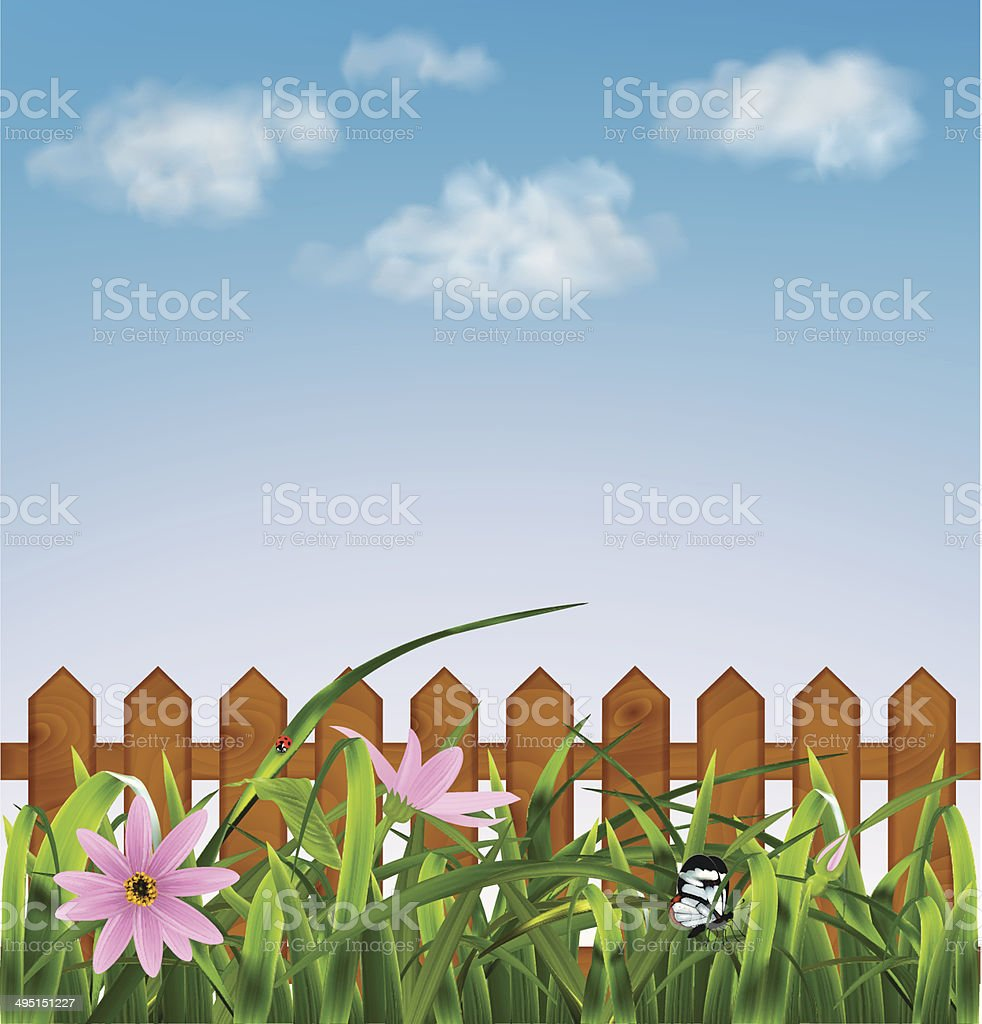 Grass with pink flowers leaf fence vector illustration stock vector grass with pink flowers leaf fence vector illustration royalty free grass with mightylinksfo