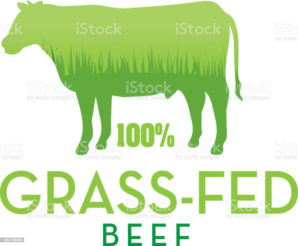 Grass-fed beef stamp or label design template - arte vettoriale royalty-free di Agricoltura
