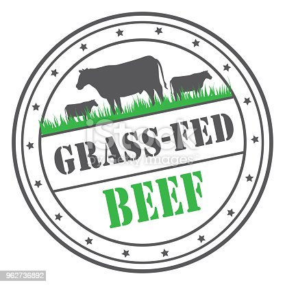 Grass-fed beef stamp or label design template. Includes text design.